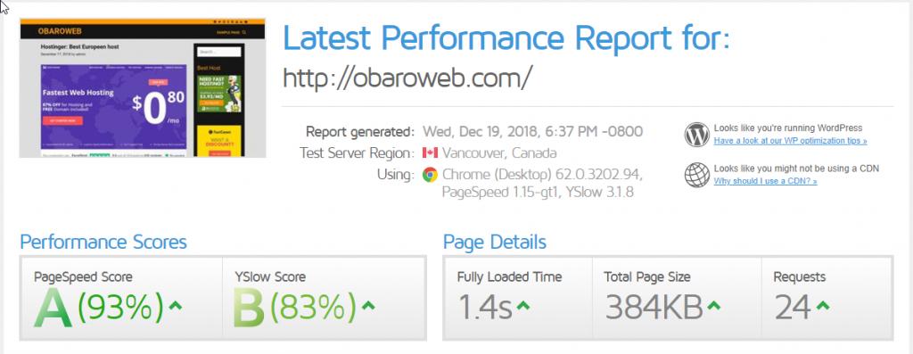 fastcomet review-best shared hosting for beginners-GTmetrix speed score