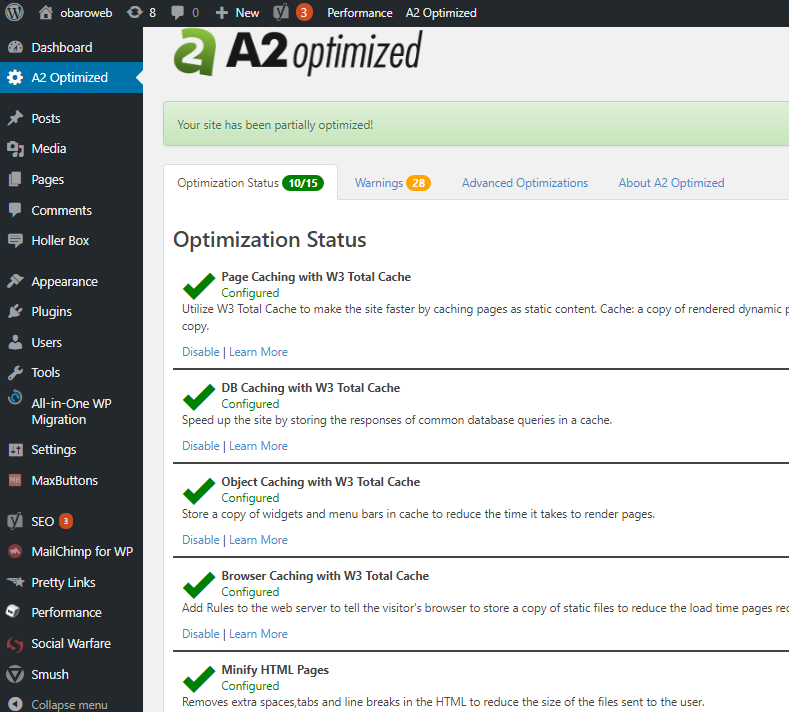 a2hosting review- A2 Optimized pluging