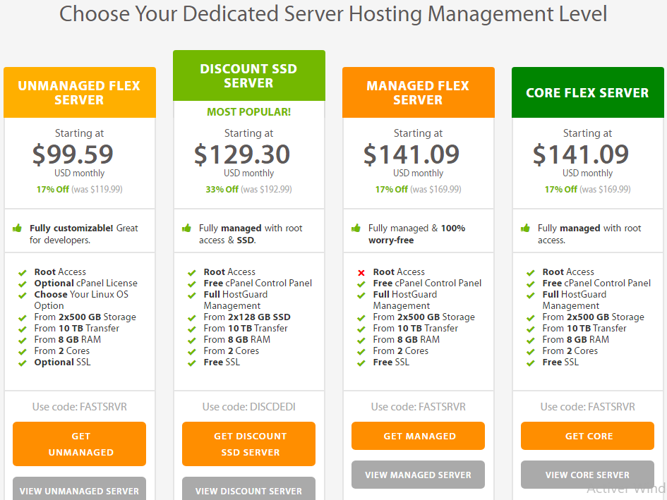 a2hosting dedicated servers