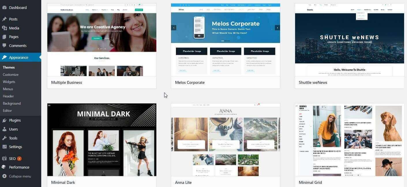 Select a beautiful WordPress theme