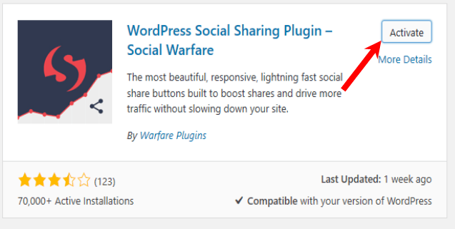 start a blog-activate social share plugin