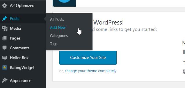 start a blog-add new blog post