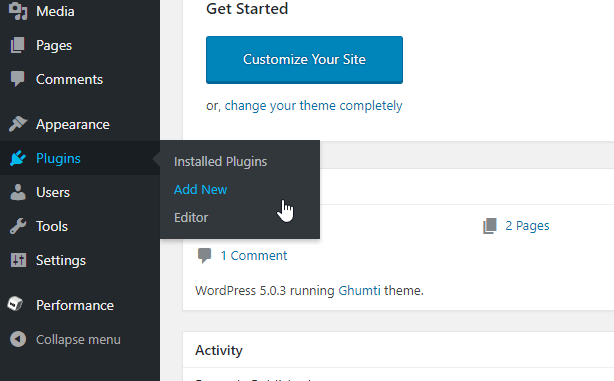 add new wordpress plugins