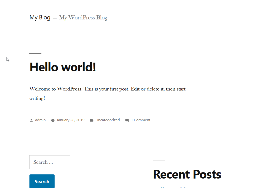 wordpress blog default layout