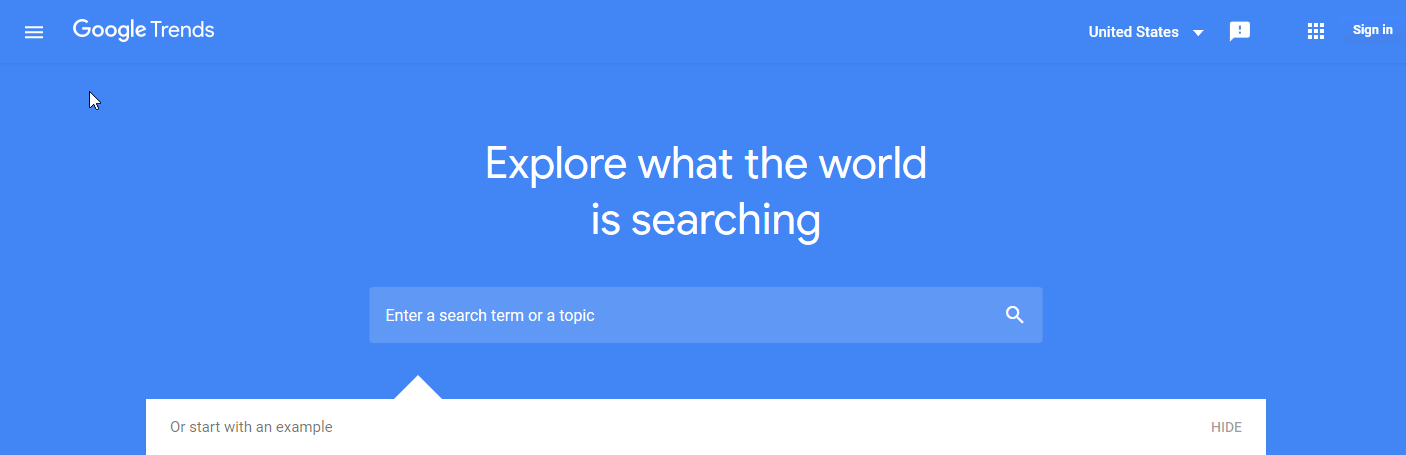 find blog topic on google trends