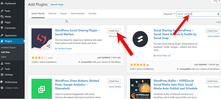 install social warfare plugin