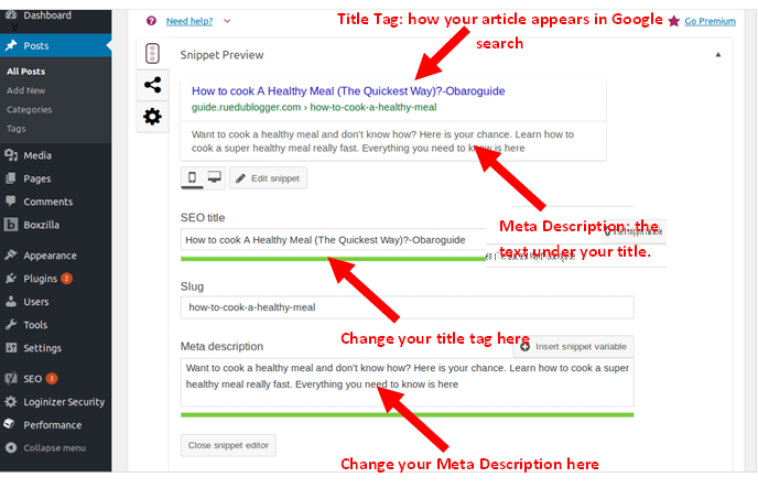 optimize blog posts title tag and meta description
