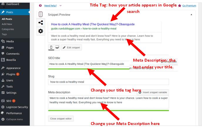 optimize blog posts title tag and meta description