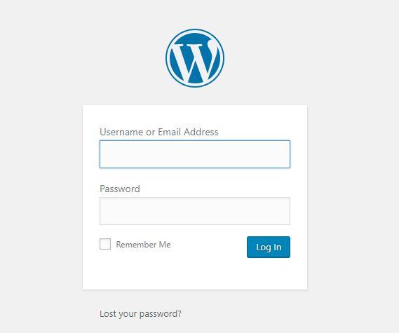 wordpress log in page