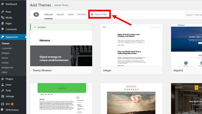 wordpress theme feature filter