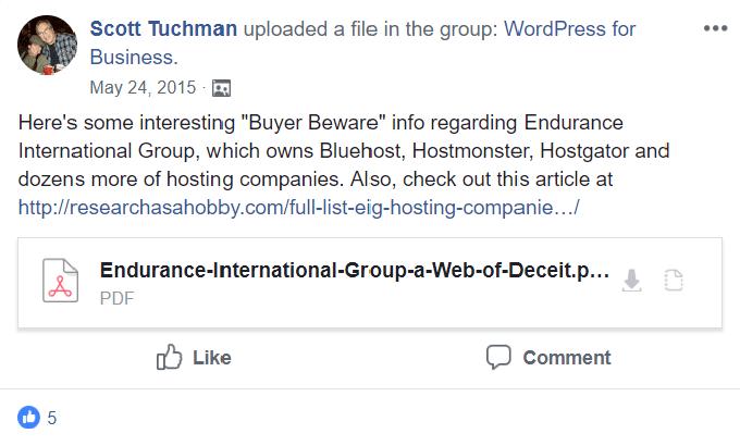 Endurance International group on social media