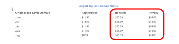 bluehost-domain-renewal-cost