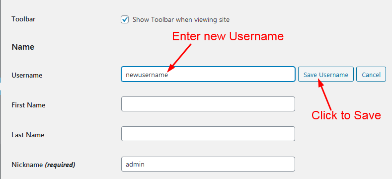 enter new admin username
