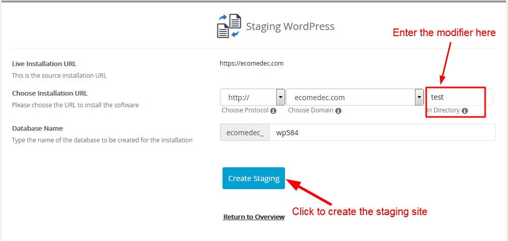 create staging with fastcomet-2