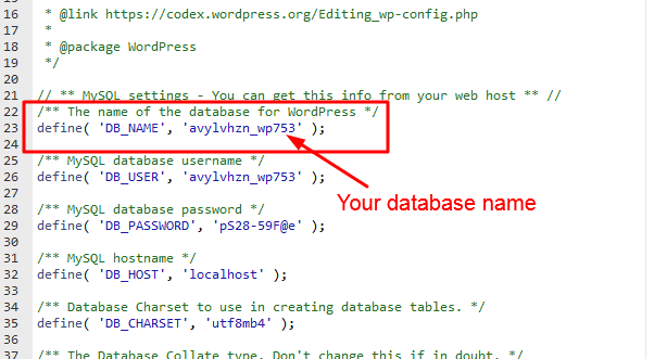 locate your DB_NAME Code