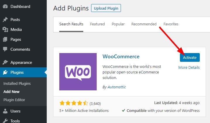 start online store-activate woocommerce plugin
