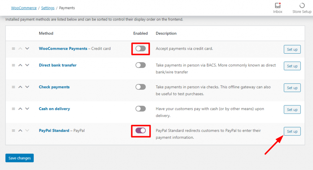 setting up PayPal payment method